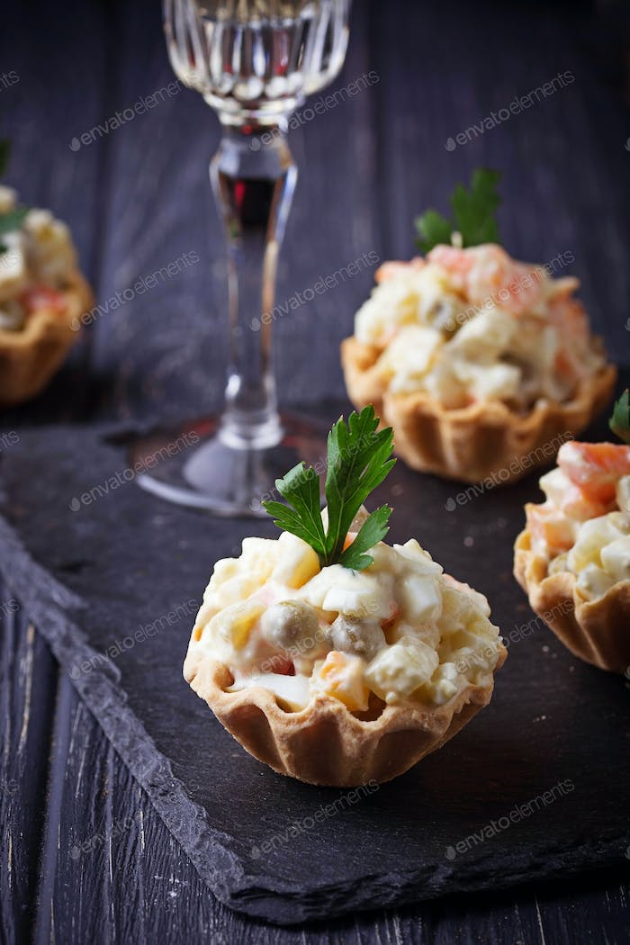 Tartlets with Russian salad, festive appetizer