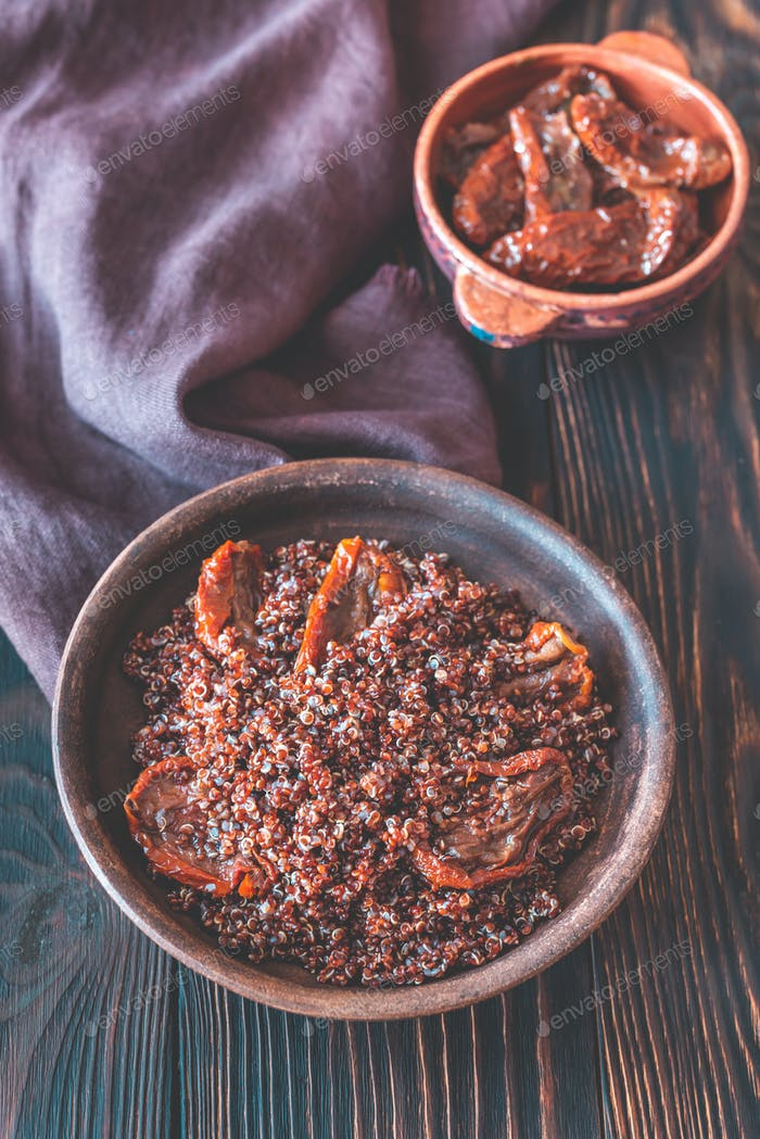 Portion of red quinoa with sun-dried tomatoes