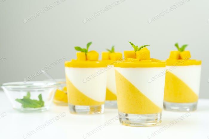 Italian dessert mango panna cotta