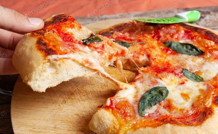 Fresh Homemade Italian Pizza Margherita with basil