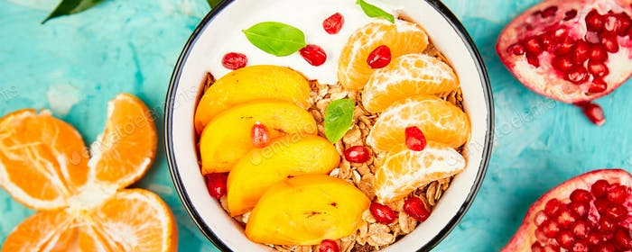 Banner with Tropical fruit Breakfast homemade granola yogurt. Healthy