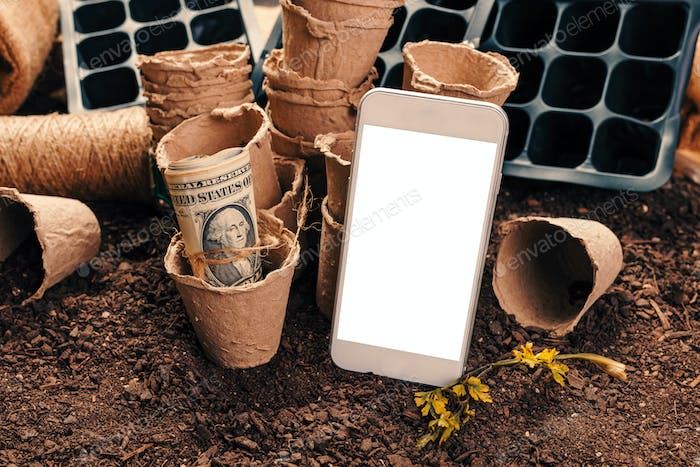 Smartphone mock up for organic farming concept