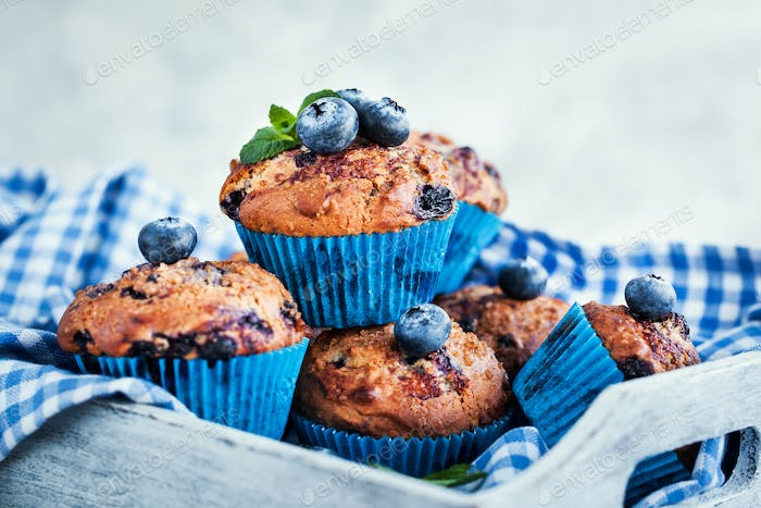 Fresh homemade delicious blueberry muffins