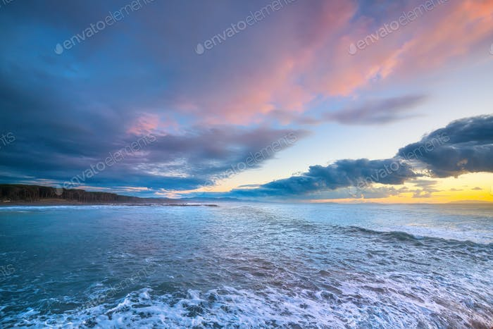 Marina di Cecina beach coast in Maremma at sunset, Tuscany, Ital