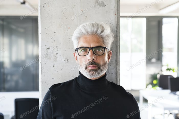 Mature businessman with gray hair in the office.