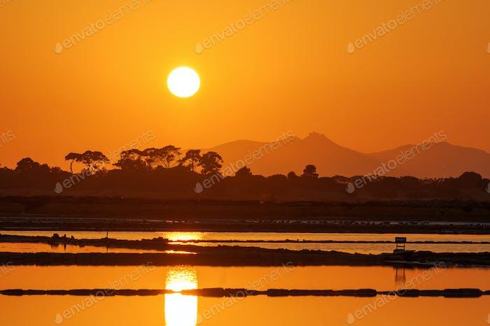 Sunset at the saltpans of Trapani