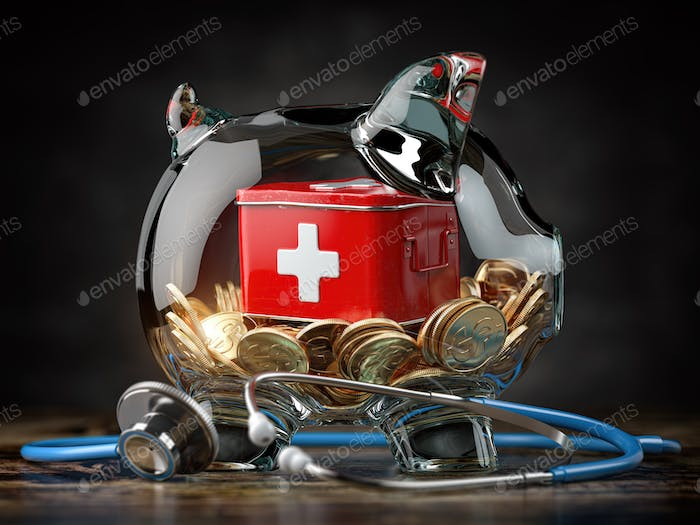 Saving for healthcare and medicine, health insurance concept.