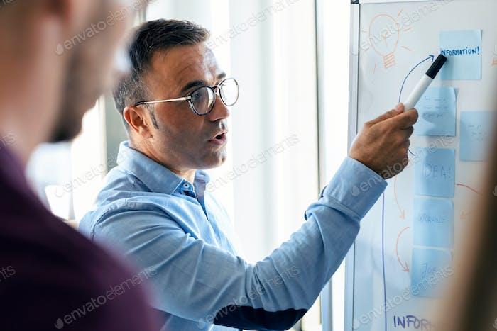 Elegante hombre de negocios maduro explicando un proyecto a sus colegas en el lugar de coworking.