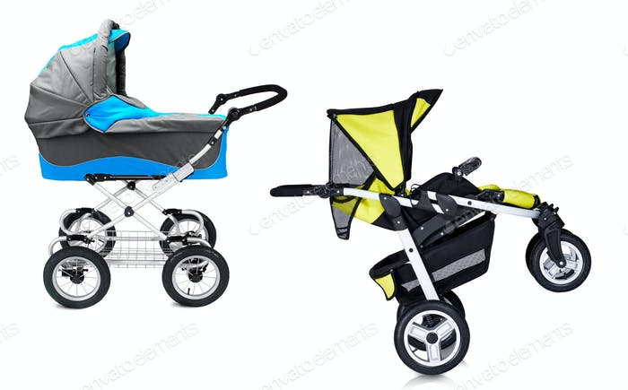 modern prams isolated