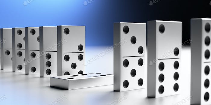 Dominoes game blocks standing, one down. 3d illustration