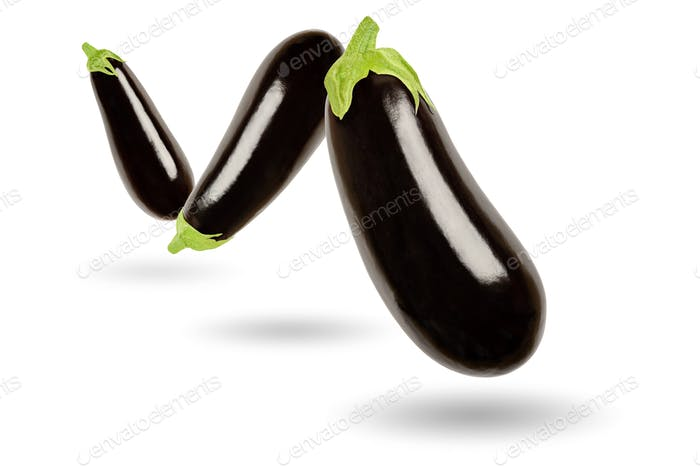 Three eggplants in a row floating in the air, on white background
