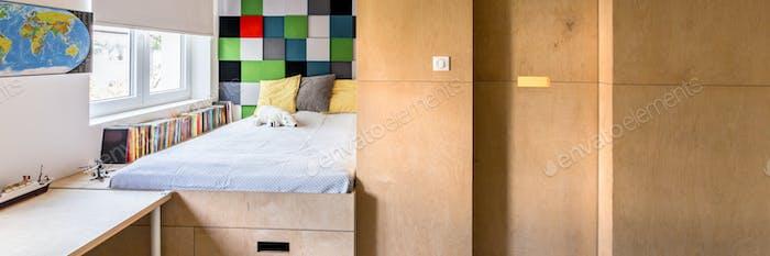 Cozy room with wooden wardrobe