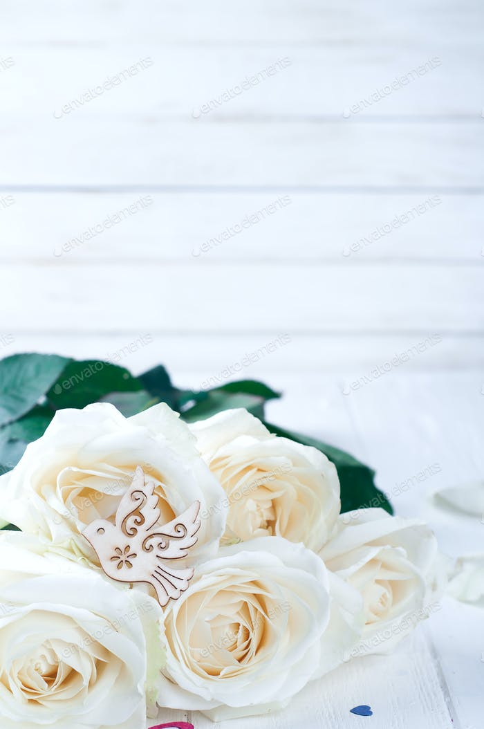White roses and wood pigeon