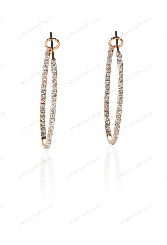 Pierced diamond hoop earrings in rose gold