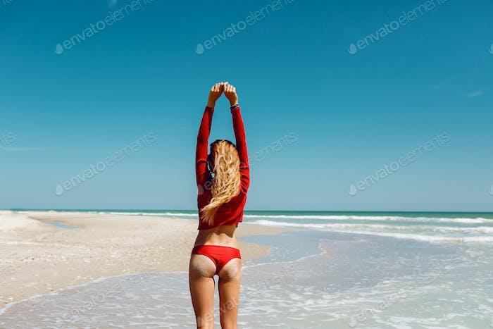 Blond woman on the beach