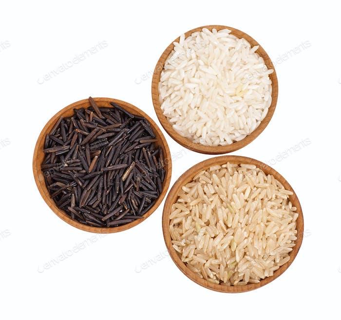 Drei Arten von Reis