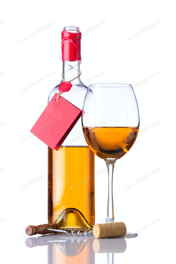 Bottle and Glass White Wine Isolated