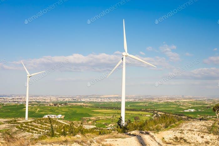 Windmühlen am hellen Sommertag