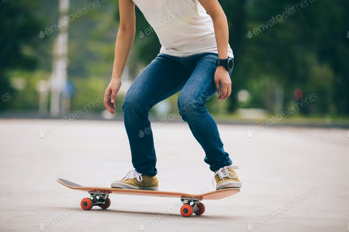 Skateboarder ready for  jumping