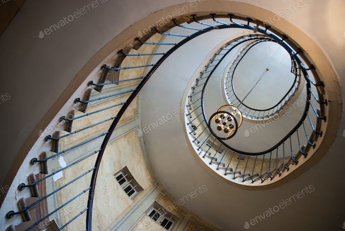 Paris, France - August 05, 2006: Bottom view of the spiral staircase in the gallery of Vivienne