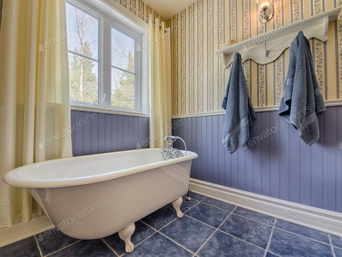 Antique style yellow and blue bathroom