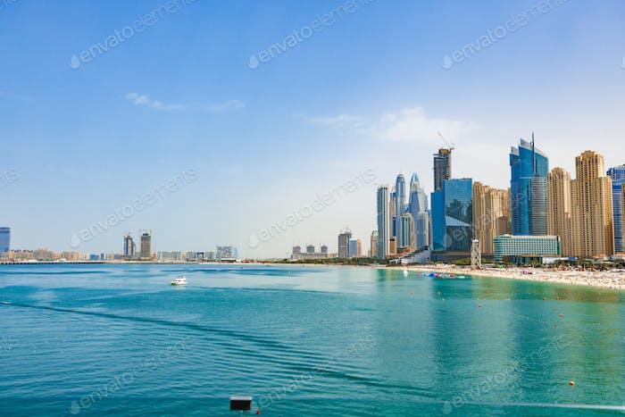 Panorama of the beach at Jumeirah Beach Residence, Dubai