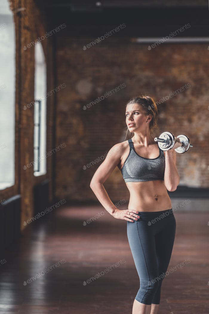 Athletic young girl at workout