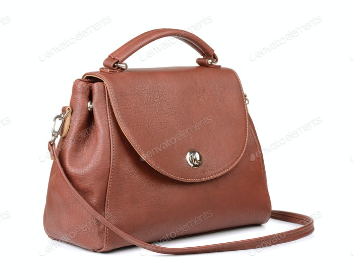 Brown vintage leather women's handbag
