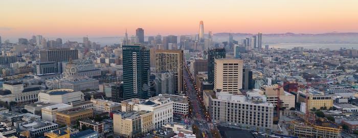 Beautiful Dusk Light San Francisco California City Skyline USA