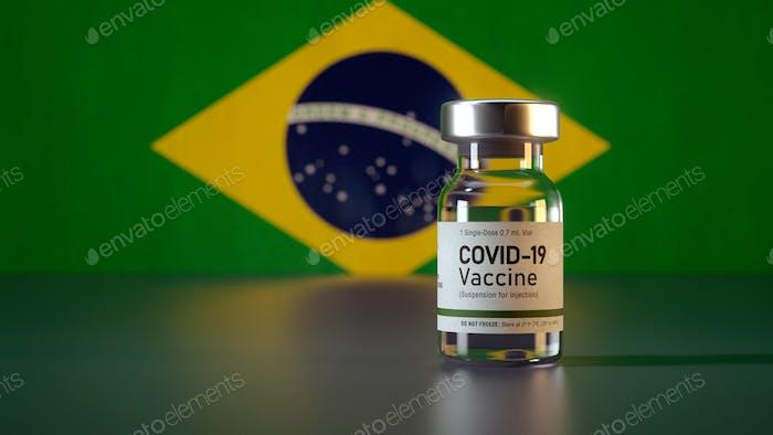 Corona Vaccine / Covid Vaccine Ampule / Vaccination in Brazil Flag