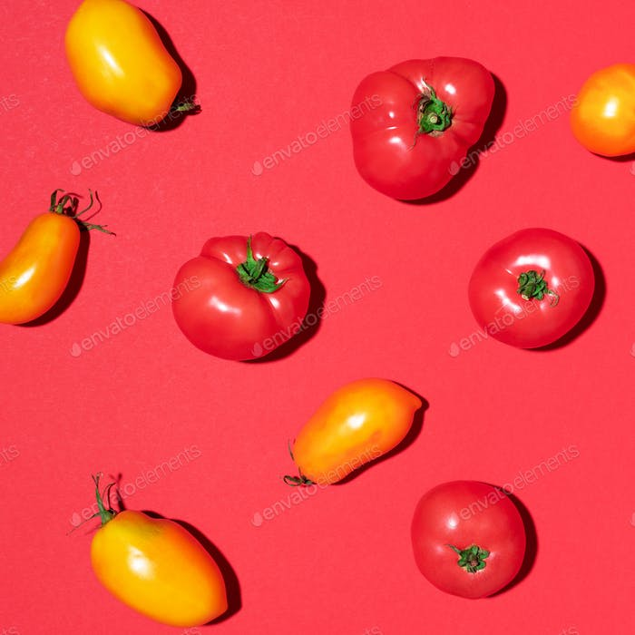 Yellow and red tomatoes pattern on red background. Flat lay, top view. Summer minimal concept. Vegan