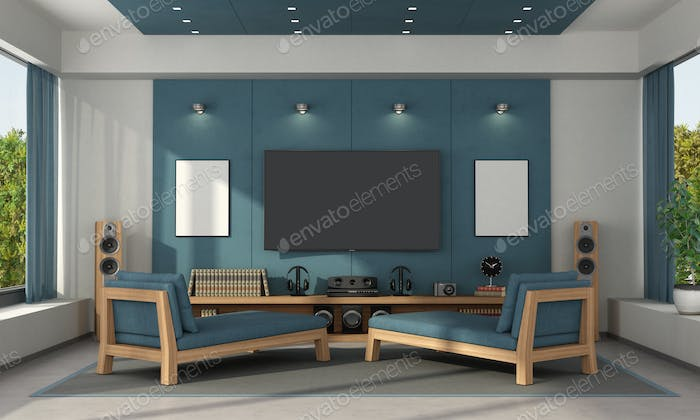 Blue home cinema of a modern villa