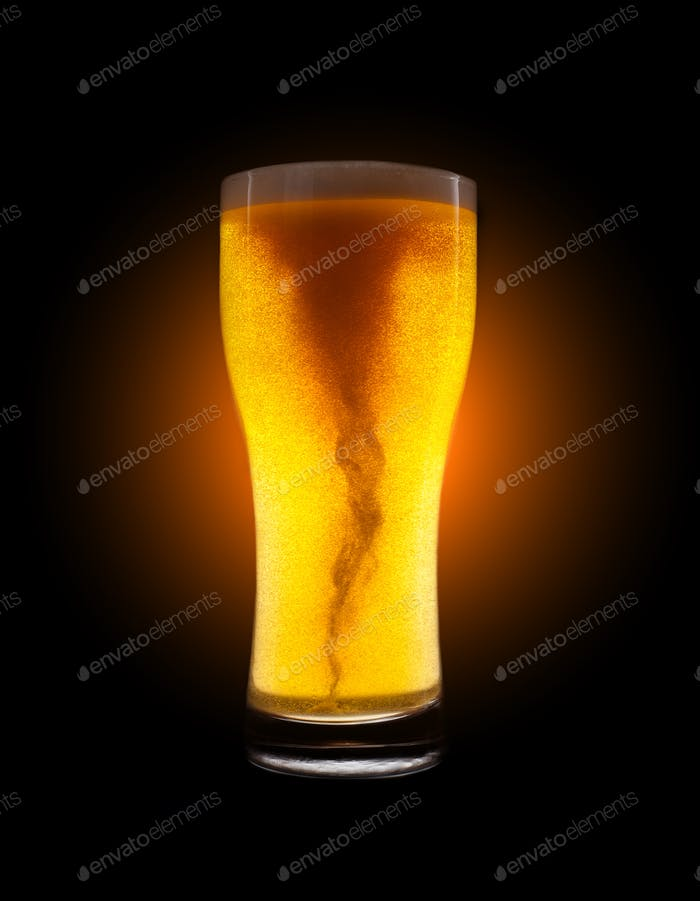 Glass of golden beer