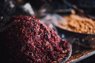 Dry spices on counter