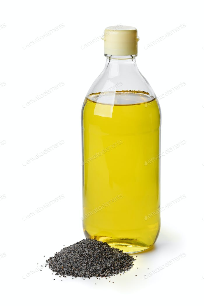 Bottle with black poppy seed oil