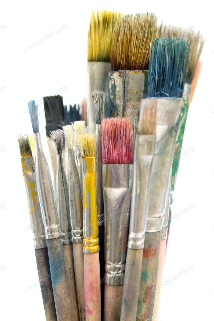 Dirty Paintbrushes Isolated on a White Background