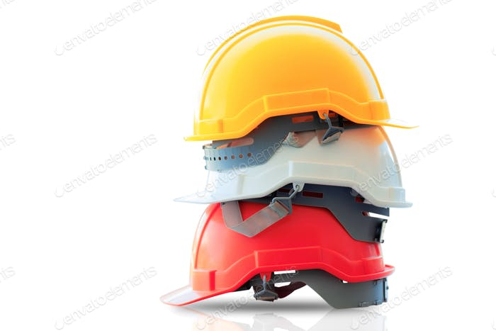 Safety helmet stacked on isolated