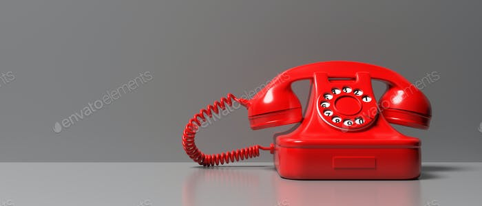 Red old phone on gray color background. 3d illustration