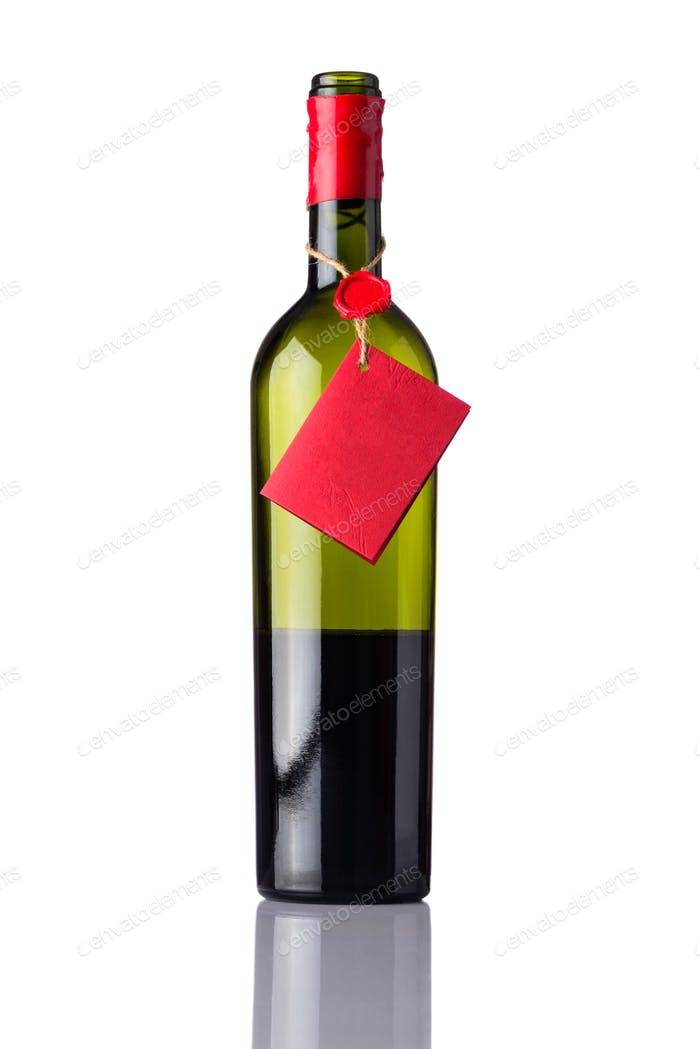 Opened Wine Bottle with Red Label on White