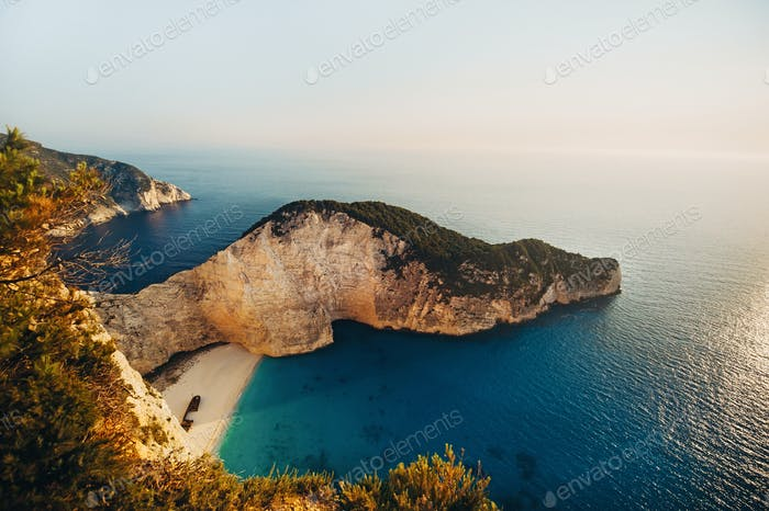 Navagio Bay Shipwreck Beach without people, top down view, Greece, Zakynthos