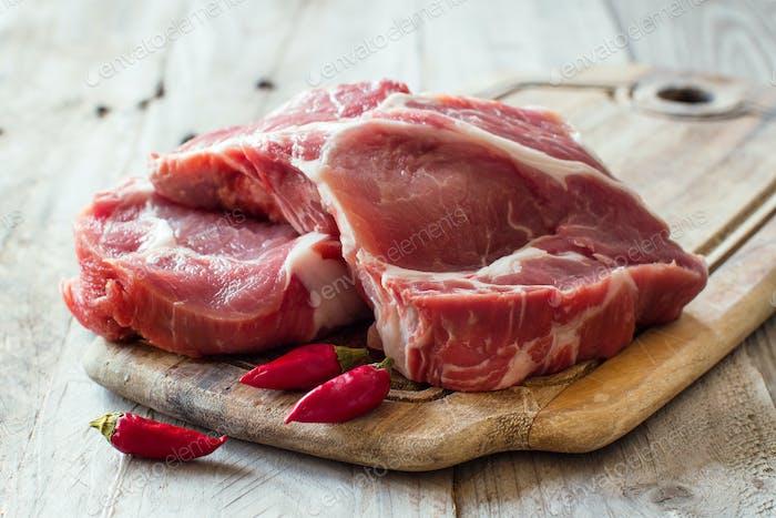 Filetes de cerdo crudos