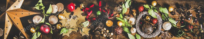 Flat-lay of Christmas, New Year holiday layout background, wide composition