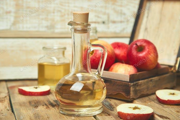 Apple cider vinegar. Bottle of apple organic vinegar
