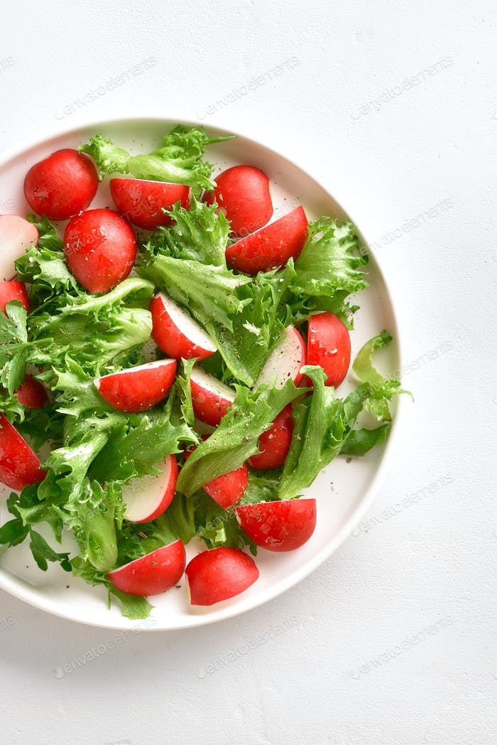 Radish salad with lettuce leaves