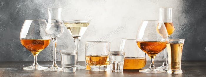 Set of hard strong alcoholic drinks