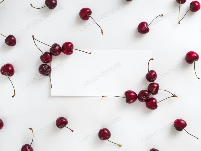 Cherry isolated on white with white rectangle