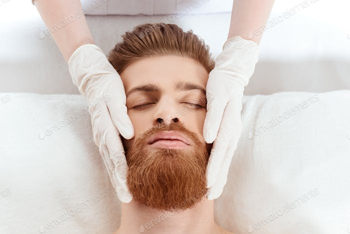 young man relaxing in beauty salon. healthy lifestyle man concept