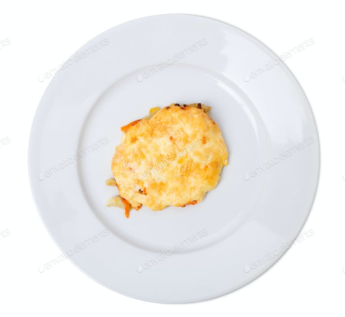 Vegetarian potato cutlet with cheese.