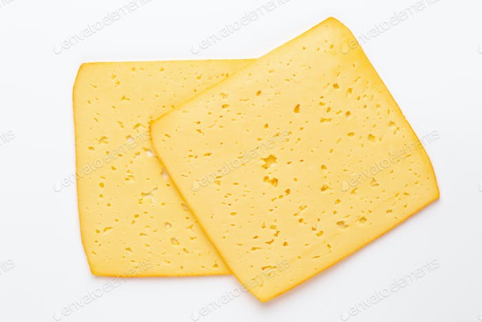 Cheese slice on white background.