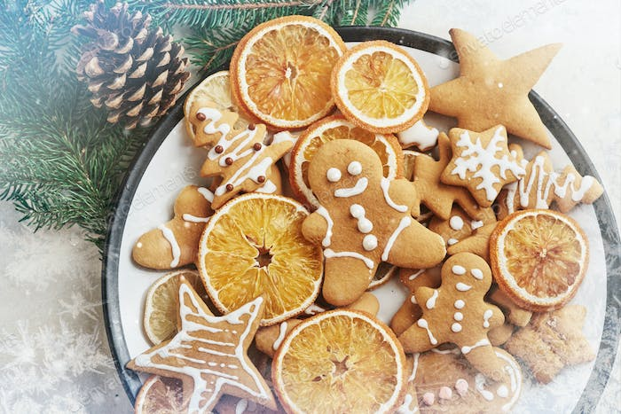 Christmas honey biscuits with orange. Happy New Year and Christmas. Bokeh light soft effect